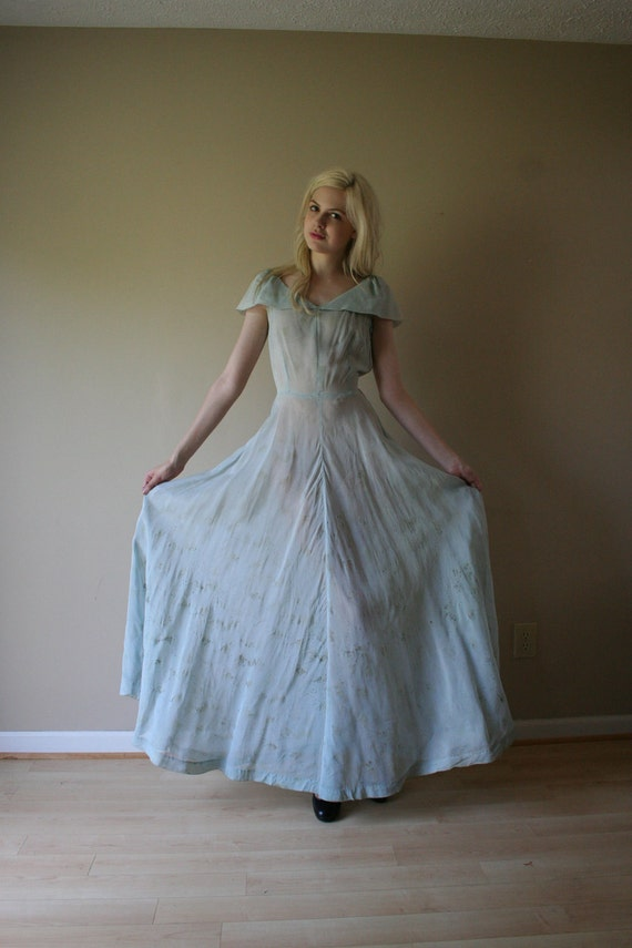 30s Dress Princess Pale Blue Sheer Organza Maxi Gown with Golden Speckles Party Prom Size Small sm (0-2-4)
