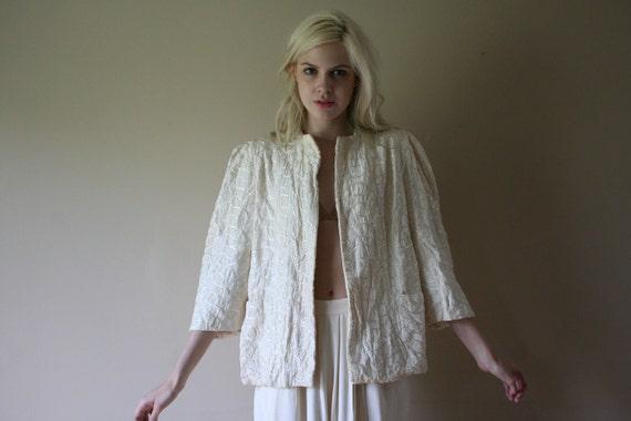 40s Jacket Cream Three Quarter Length Shoulder Pad Bed Jacket Night Blouse Size Medium md med (4-6-8)