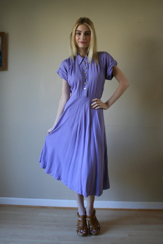 40s Dress Lavender Cotton Shirtdress with Silver Buttons Size Small-Medium sm med md (0-2-4-6)