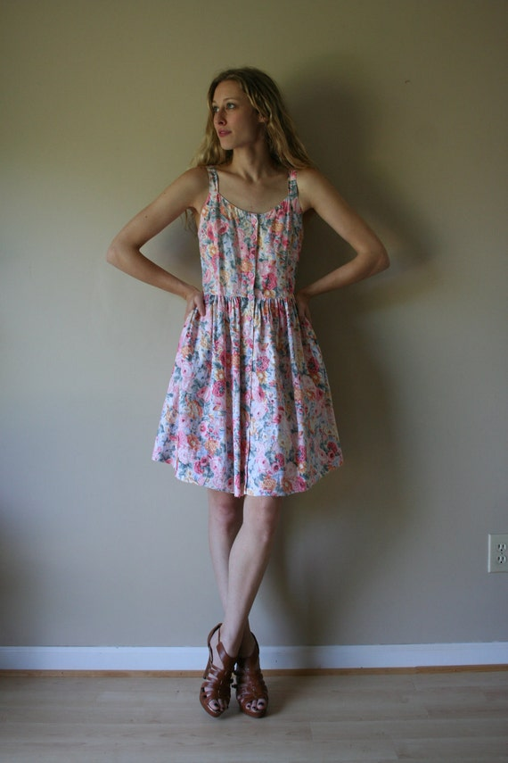 80s Sun Dress Watercolor Floral Gunne Sax Style Pink Orange White Eggshell Blue Mini Dress with Pockets Size Medium med md (2-4)