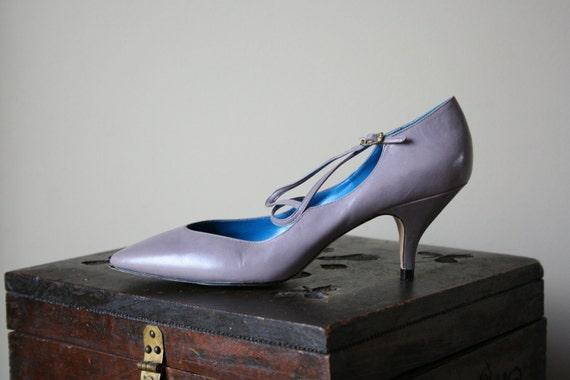 80s Kitten Heels Ballerina Pumps of Lavender Purple Leather Crisscross Straps Holiday Party Size Us 7.5 / Uk 5.5 / AU 37.5