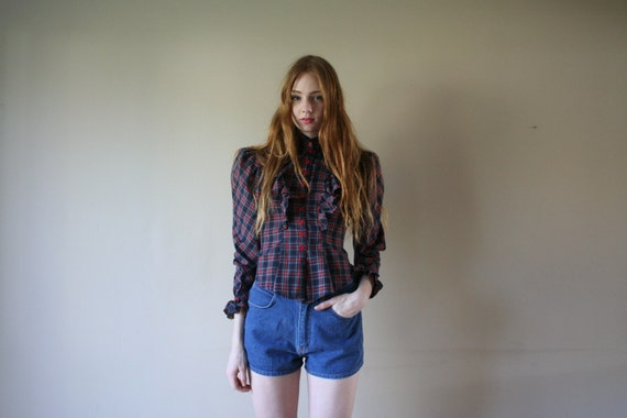 70s Avant Garde Blouse Puffed Sleeves Tartan Plaid Fitted Nipped Waist Button Up Shirt High Collar Frilly Size Small sm (00-0-2)