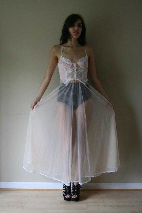 LAST CHANCE 80s Nightgown Bustier Sheer Chiffon Baby Pink White Lace Cream Skirt  Nightie Wedding Night Size Small sm (0-2-4)