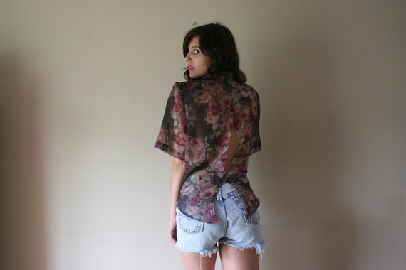 80s 90s Blouse Semi Sheer Florals Cut Out Slit Back Top Fishtail Hem Large Square Shoulder Pads Small-Medium-Large