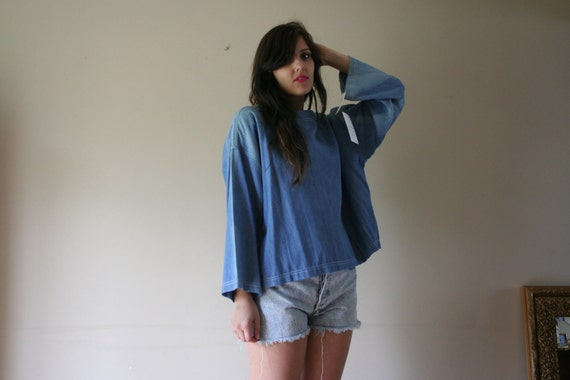 80s Faded Denim Top Jean Blouse Faded Light Blue Wash Cropped Top Bell Sleeves Washed Out Oversized All Sizes  NWT Size Small-Medium-Large