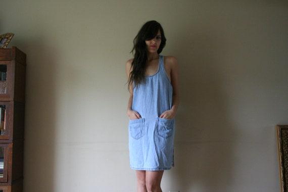 90s Denim Mini Dress Racerback Sleeveless Short Jean Skirt Washed Out Light Blue Wash Cotton Summer Breezy Minidress Size Small-Medium sm md