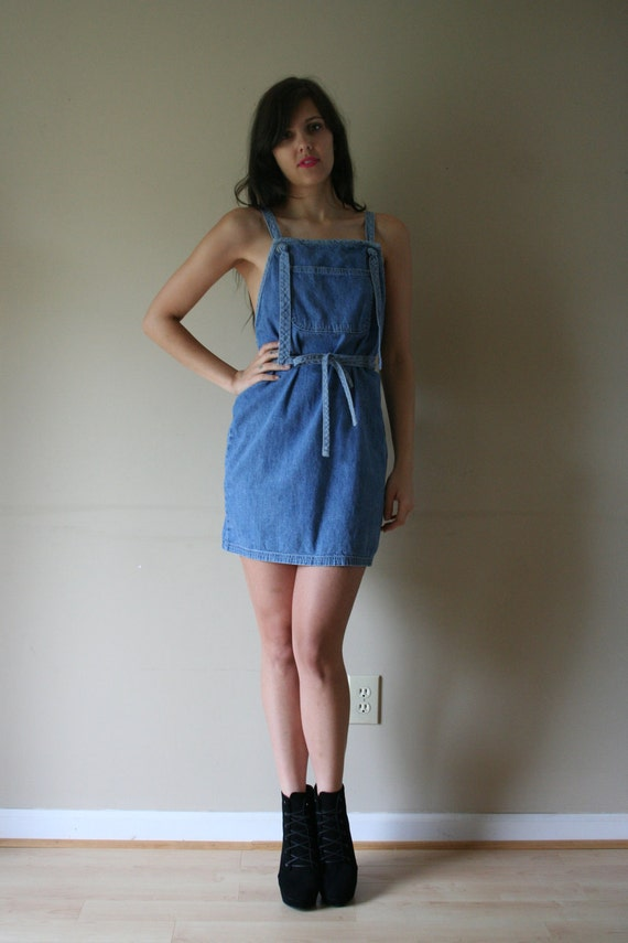 LAST CHANCE 90s Wrap Denim Minidress Light Blue Jean Front Pocket Overalls Open Back Summertime Party Size Small-Medium sm med md (0-2-4)