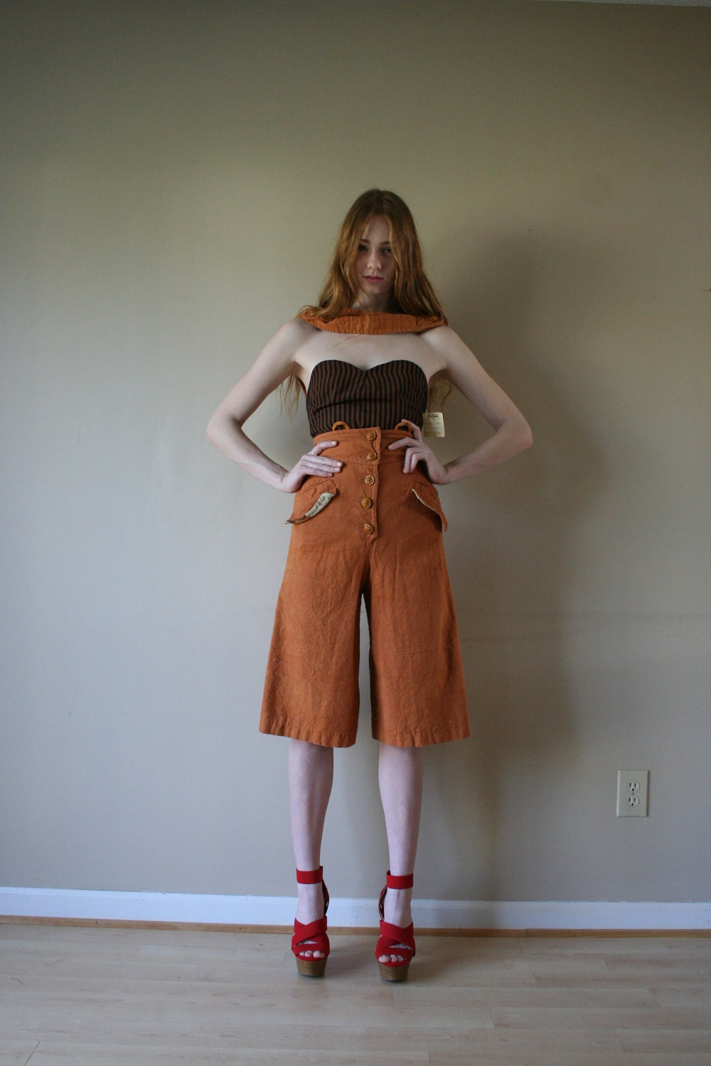 70s Overalls Gaucho Pants Burnt Orange Lion Head by closetcaseVNTG