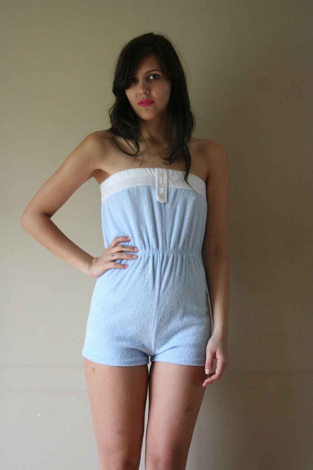 LAST CHANCE 70s Romper White Terry Cloth Suzanne Somers Onesie