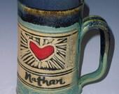 Personalized Heart Mug, Wedding Mugs, Wedding Present, His and Hers, Wedding Gift, Heart Love,Personalized Wedding Heart Mug