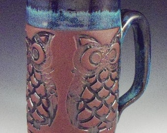 Mug,Handmade Mug,Owl Mug, Stoneware Owl Mug, Owl Coffee Cup, Owl Tea Mug, Whimsical Owl Mug, Whimsical Owl, Red Clay Mug