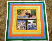 "Wilderness Theme 48"" Square Lap Block Quilt"