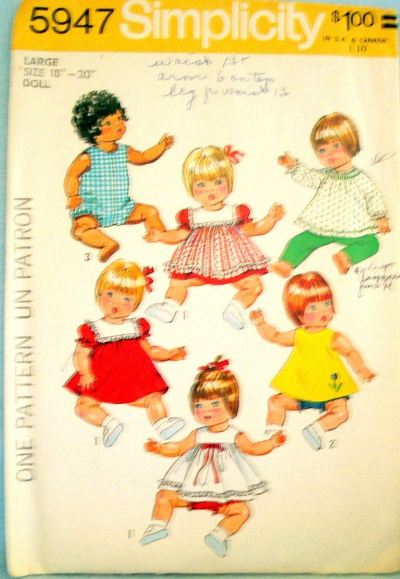 Vintage Baby Doll Clothes Pattern 18 20 Inch Simplicity 5947