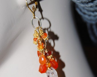 rough citrine and carnelian dangle earrings