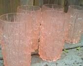 Vintage 60s Pink Hard Plastic Tall Glasses