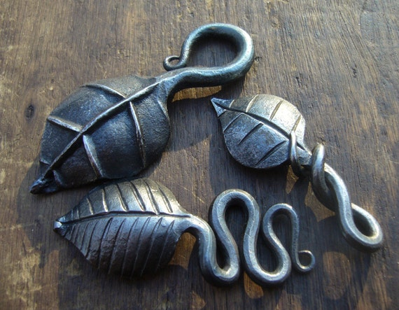 Hand forged leaves keychains