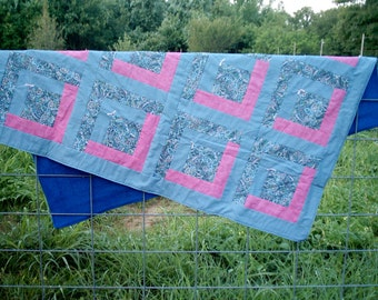 Lavender and Pink Flower Quilt