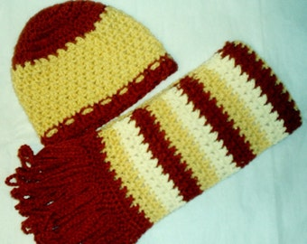 Rust and Gold Hat n Scarf set