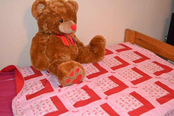 Pink and Red and Flower Quilt
