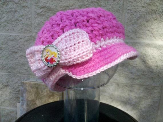 Crocheted Disney Princess Aurora Sleeping Beauty Inspired Youth Hat