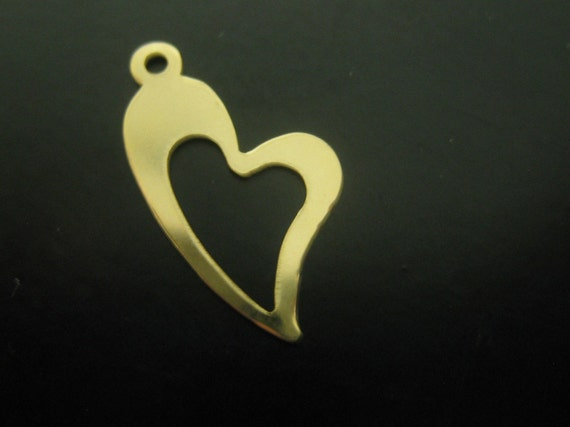 Gold Filled 14kt Heart Charm with loop  Pendant  by Wishmeaway on Etsy