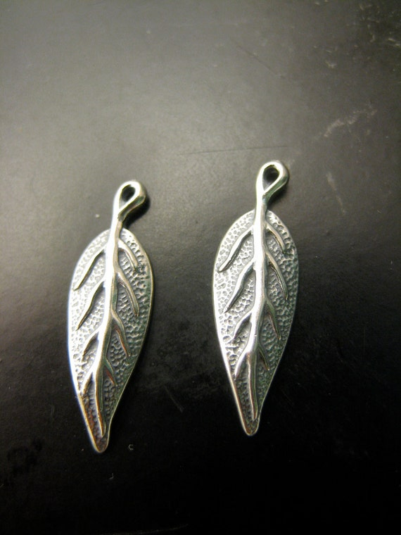Sterling Silver Dangle Leaf Pendants Charms by Wishmeaway on Etsy