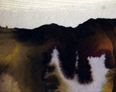 Original Landscape Painting, Mountains and Lake,  Matted 8 x 10, FREE SHIPPING