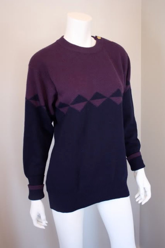 Vintage Chanel purple & navy blue cashmere sweater with Chanel handbag gold buttons at the neck.