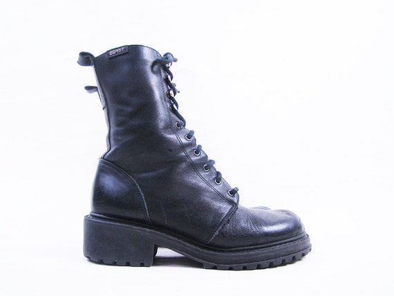 Vintage Black Leather Chunky Combat Ankle Boots // Size 5.5