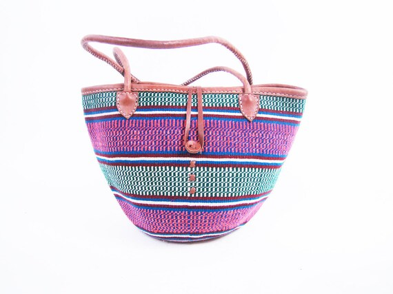 Vintage Woven and Brown Leather Ethnic Market Bag // Medium with Button Enclosure