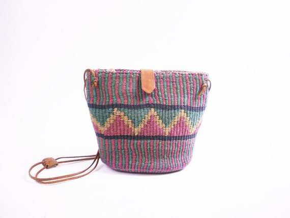 Vintage Ethnic Woven Purse // Sisal and Brown Leather Mini Market Bag / Aztec Design
