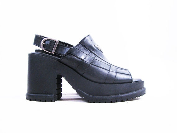 s a l e Vintage 90s Black Leather Chunky Harley Davidson Platform Sandals Size 6.5
