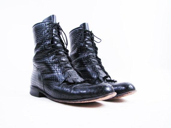 Vintage Black Leather Woven Justin Combat Roper Boots Size 5.5