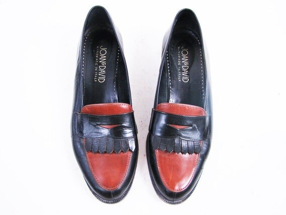 Vintage Black and Brown Leather ITALIAN Penny Loafers by Joan and David Size 9.5