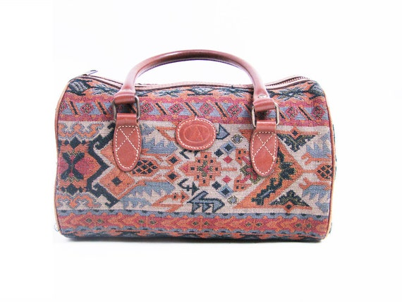 VIntage Woven and Brown Leather SOUTHWESTERN Handbag // Small