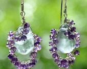 Dangle earrings Chandelier earrings gemstones Amethyst, Sterling silver  wirewrapped gift for her February birthstone