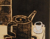 Original primitive wood carved still life painting of antique teapot and teacup on red rose cloth at night