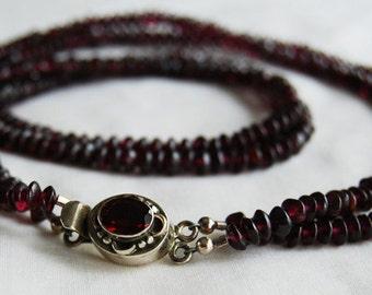 Necklace-Garnet-Sterling-Faceted Garnet
