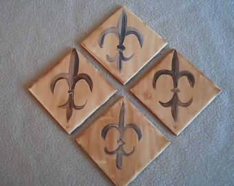Fleur de lis hand painted on tile can be customized especially for you