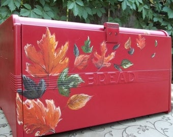 Red Bread Box with Fall leaves hand painted blowing in the wind up and over the box