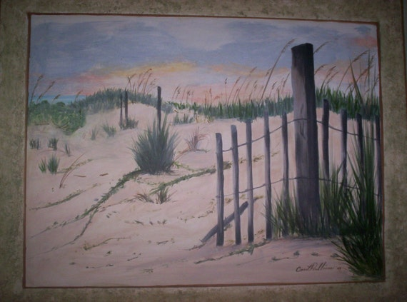 Fence on Beach original painting on canvas with border painted around the edge