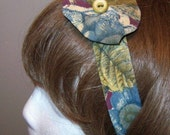 Blue Burgundy and Olive Necktie Headband