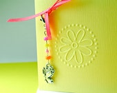 Handmade Cards - Yellow Embossed Flower with Beaded Butterfly charm