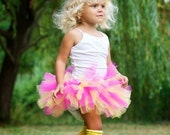Boutique Tropical Sunset Hot Pink and Yellow Short and Sassy SUPER FLUFFY Tutu