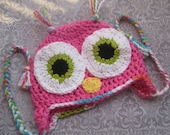 Crochet Owl Beanie Hat with Ties (Hot Pink) YOU PICK SIZE