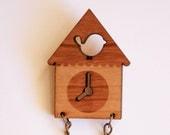cuckoo clock wooden brooch