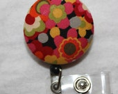 Midnight Garden Cluster Fabric Covered Retractable Badge Reel - Keychain or ID Holder
