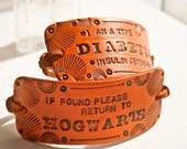 Custom Leather Bracelet - Unisex - Design your own hand stamped, tooled and stained leather cuff bracelet with text