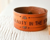 "Leather SNAP Bracelet or Anklet - There's Beauty in the Struggle - Unisex, Stamped - snaps at 7.5"" and 8.5"""
