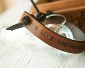 Reserved for Rachel - Priority Shipping and RUSH upgrade - Custom Text Leather bracelet - hand stamped band